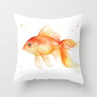 Goldfish Painting Watercolor Fish Throw Pillow