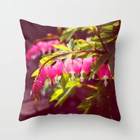 Bleeding Heart Garden Throw Pillow