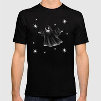 Starry Nights Scary Ghost Mens Fitted Tee Black SMALL