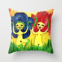 Wild Flowers In Bloom Throw Pillow