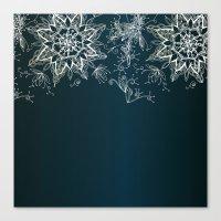 Zendala Snowflake Denim Canvas Print