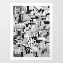 City and Shadow, Film Noir Art Print