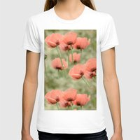 Pink Poppies Patterns Womens Fitted Tee White SMALL