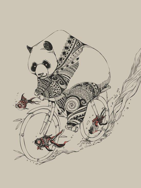 Panda and Follow Fish Art Print