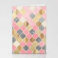 Silver Grey, Soft Pink, Wood & Gold Moroccan Pattern Stationery Cards