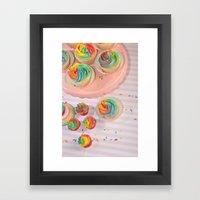 rainbow cupcakes Framed Art Print
