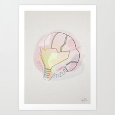 One line helmet:Metroid Art Print