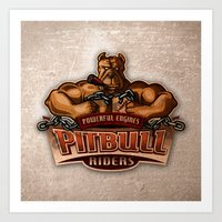 PITBULL RIDERS Art Print