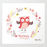 Think Happy, Be Happy Owl Print Art Print