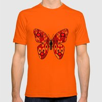 Red Butterfly Mens Fitted Tee Orange SMALL