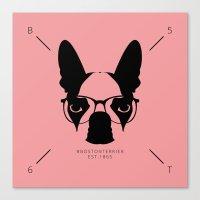 Hipster Boston Terrier Canvas Print