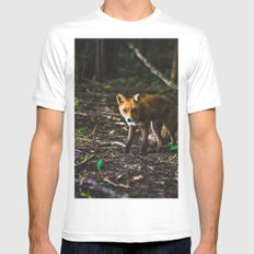 Mr Fox is sneaking up on you SMALL Mens Fitted Tee White