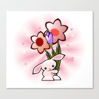 Little Pink Bunny With Flowers Canvas Print