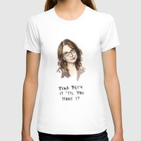 Tina Fey'k It Til You Make It - Watercolor Tina Fey Illustration Womens Fitted Tee White SMALL