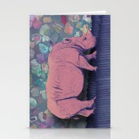 Pink Rhinoceros Collage Stationery Cards