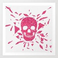 Girly Pink Glitter Abstr… Art Print