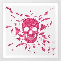 Girly Pink Glitter Abstract Skull Cool Photo Print Art Print