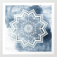 BLUEISH SEA FLOWER MANDALA Art Print