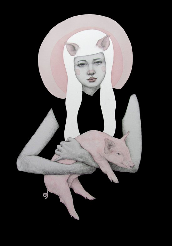 Peonia in Black Art Print