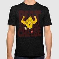 Beat it with Cheese Mens Fitted Tee Tri-Black SMALL