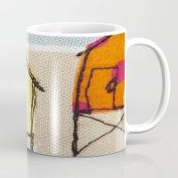 Embroidered Beach huts Mug