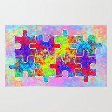 Autism Colorful Puzzle Pieces Rug