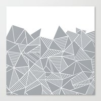 Abstract Mountain Grey on White Canvas Print