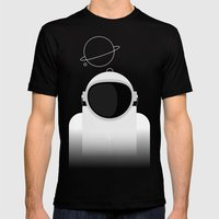 Astronaut is listening music Mens Fitted Tee Black SMALL