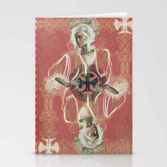 Queen Of Clubs Stationery Card