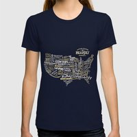 UNITE STATES OF BEARDLY … Womens Fitted Tee Navy SMALL