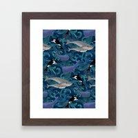 Beautiful Ocean Giants - teal Framed Art Print