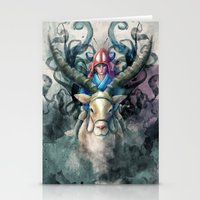 Ashitaka Demon Watercolor Digital Painting Stationery Cards