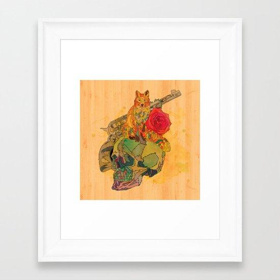 Fox & Rose Framed Art Print