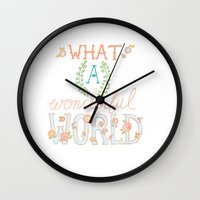 What a Wonderful World, Hand Drawn Quote Wall Clock