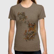 fox in foliage Womens Fitted Tee Tri-Coffee SMALL