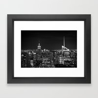 Manhattan Skyline Black … Framed Art Print