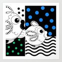 Fish and Patterns Op Art Art Print