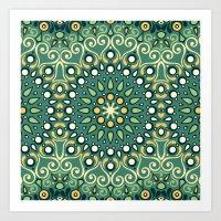 Green Boho Floral Pattern Art Print