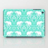 Elephant Damask Mint iPad Case