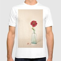 Red Petals - Zinna Still… Mens Fitted Tee White SMALL