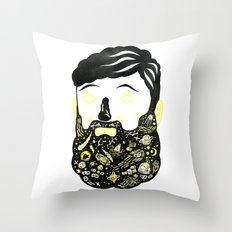 Space Beard Guy Throw Pillow