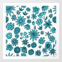 Blue Flowers On White Art Print