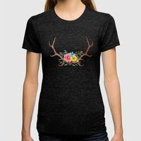 Floral Antlers Womens Fitted Tee Tri-Black SMALL