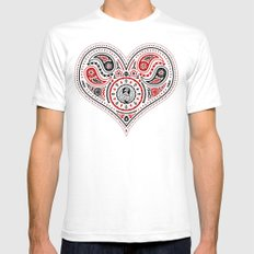 83 Drops - Hearts (Red & Black) Mens Fitted Tee White SMALL