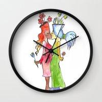 lesbian flower women kiss Wall Clock