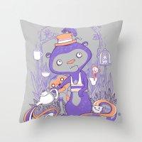 Tea Monkey Tea Party Throw Pillow