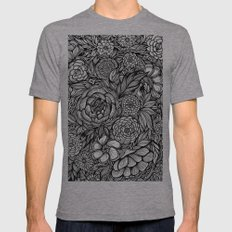 Peony Fascination Mens Fitted Tee Athletic Grey SMALL