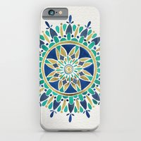 iPhone Cases featuring Mandala – Gold & Turquoise by Cat Coquillette