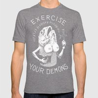 Exercise Your Demons Mens Fitted Tee Tri-Grey SMALL