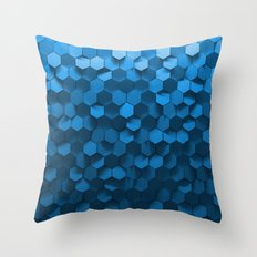 Blue hexagon abstract pattern Throw Pillow